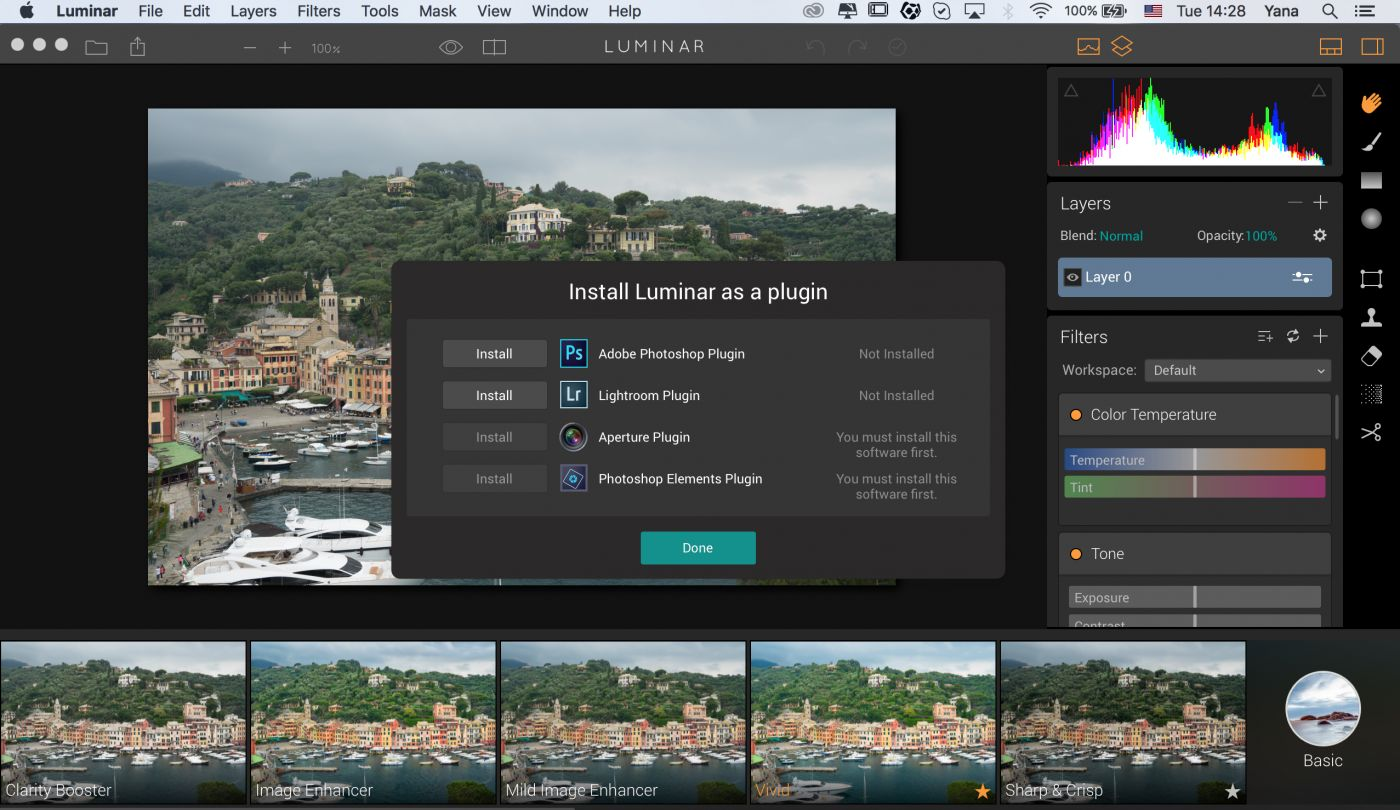 Use Luminar as the plug-in
