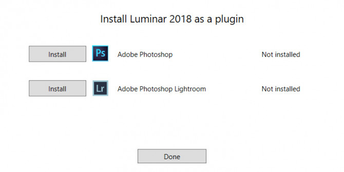 Installing Luminar as a Plug-in: Luminar 2018 Userguide for Windows