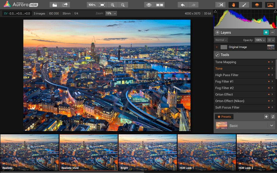 Tone mapping in Aurora HDR Pro