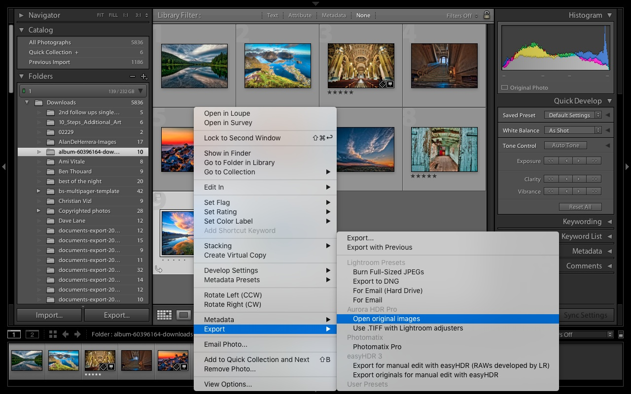 Lightroom 5: Export to Aurora HDR plugin