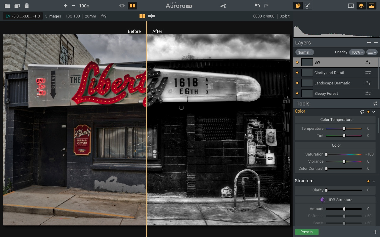 Before and After screenshot of Aurora HDR 2017