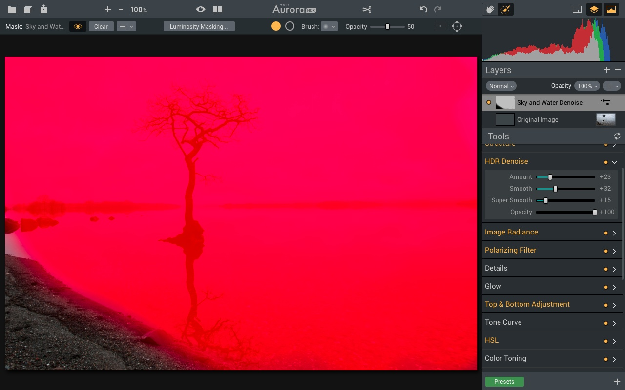 Masking tool for sky and water in Aurora HDR 2017