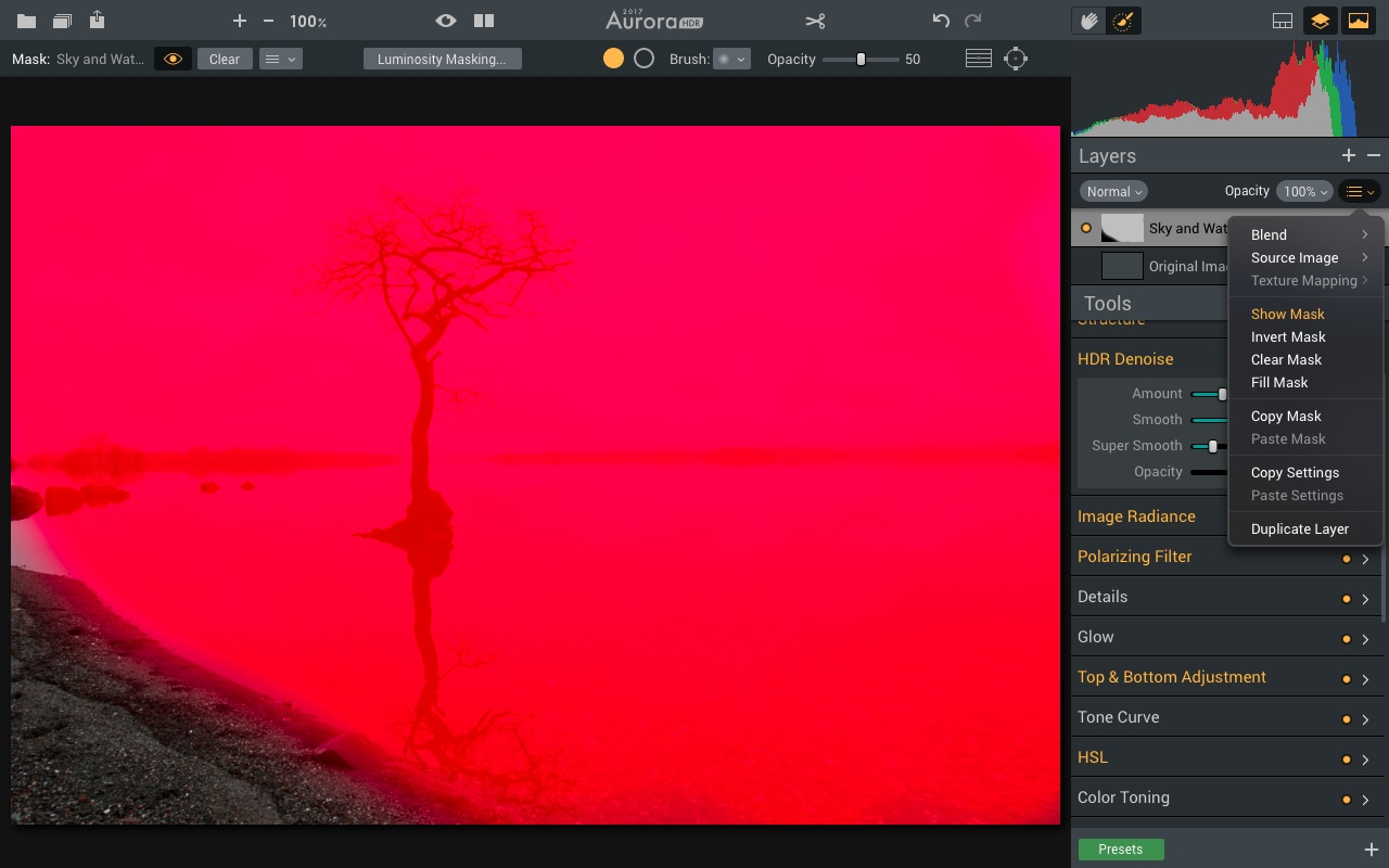 Submenu for a new layer in Aurora HDR 2017