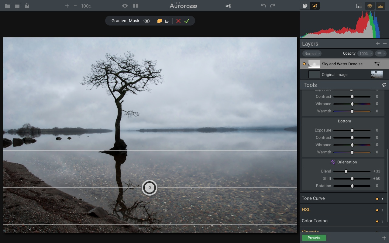 Inverting gradient masking tool in Aurora HDR 2017