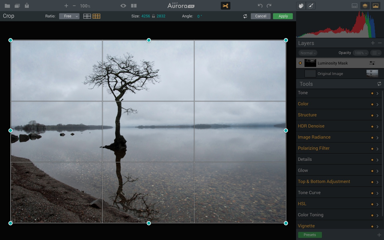 Cropping tool in Aurora HDR 2017