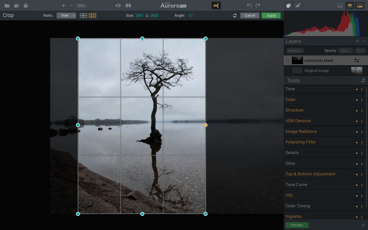 How to crop images in Aurora HDR 2017