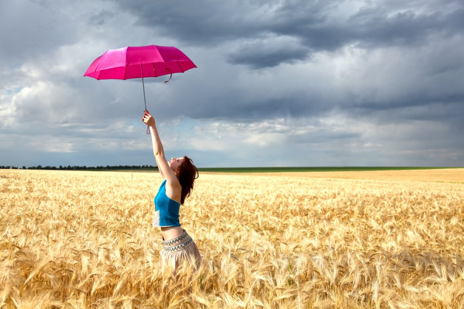 A girl with umbrella - HDR landscape