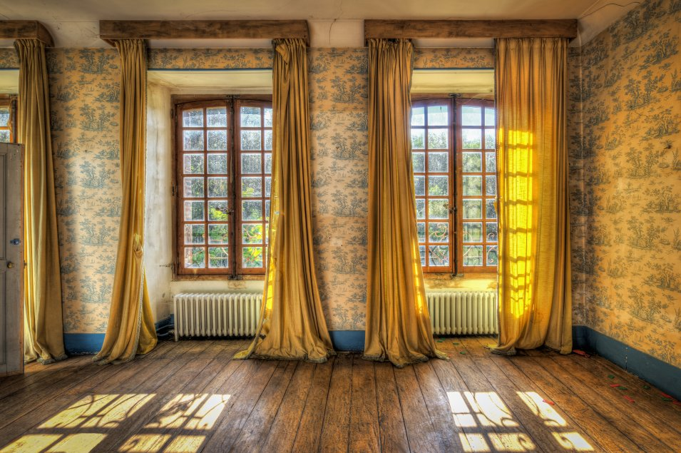Curtains with bright window view